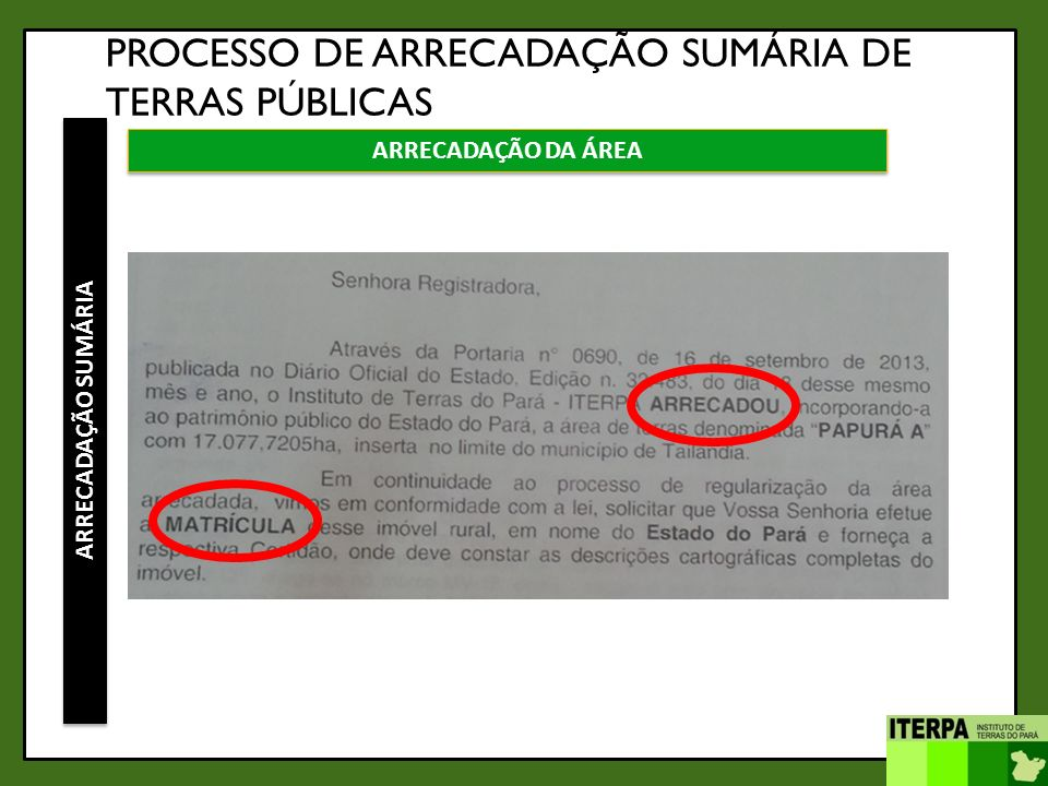 PROCESSO DE ARRECADAÇÃO SUMÁRIA DE TERRAS PÚBLICAS