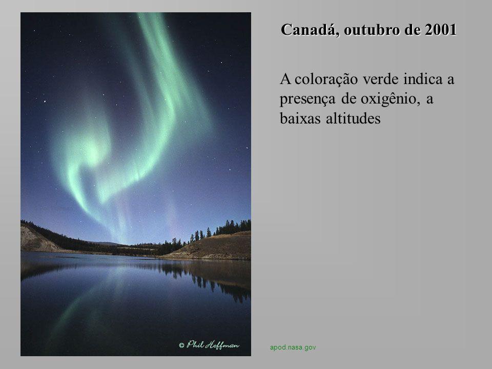 A coloração verde indica a presença de oxigênio, a baixas altitudes