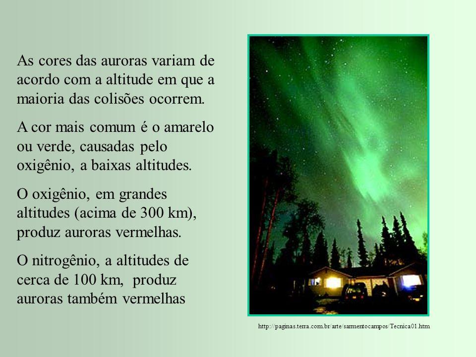 As cores das auroras variam de acordo com a altitude em que a maioria das colisões ocorrem.
