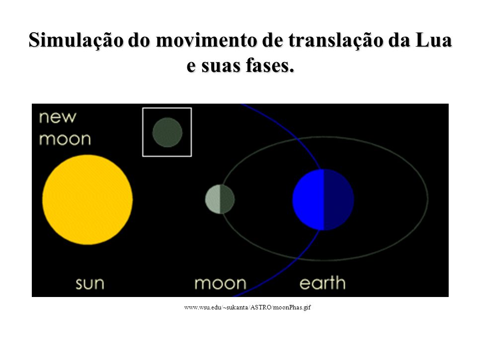 Simulação do movimento de translação da Lua e suas fases.