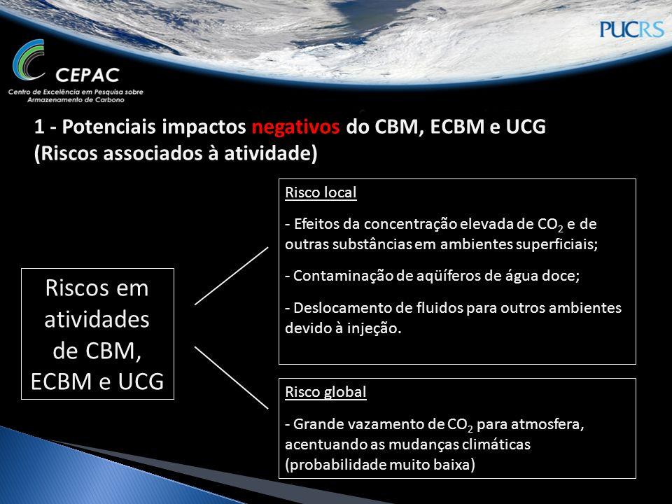Riscos em atividades de CBM, ECBM e UCG