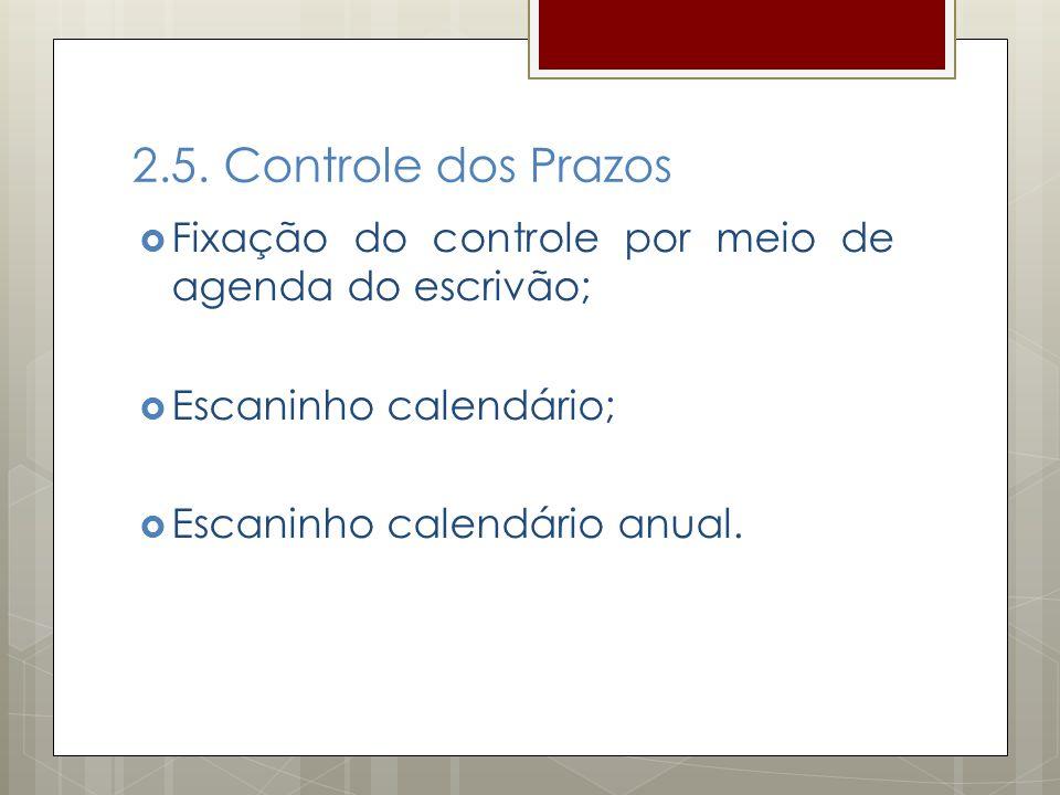2.5. Controle dos Prazos Fixação do controle por meio de agenda do escrivão; Escaninho calendário;