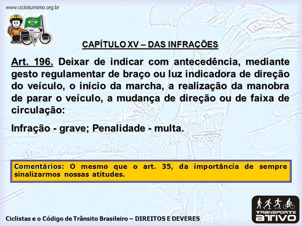 CAPÍTULO XV – DAS INFRAÇÕES
