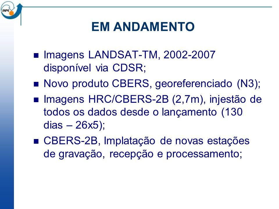 EM ANDAMENTO Imagens LANDSAT-TM, 2002-2007 disponível via CDSR;