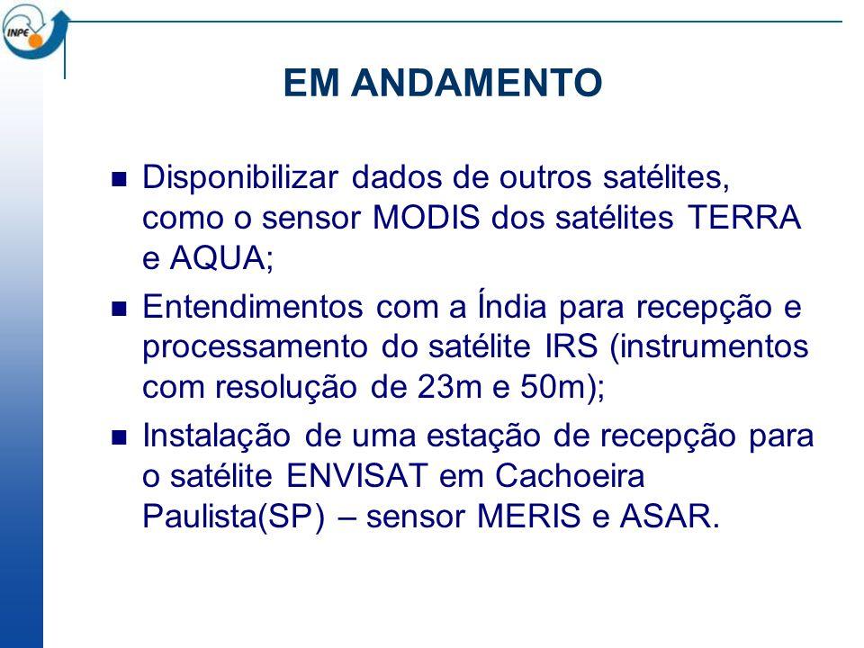 EM ANDAMENTO Disponibilizar dados de outros satélites, como o sensor MODIS dos satélites TERRA e AQUA;