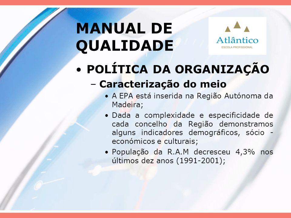 MANUAL DE QUALIDADE POLÍTICA DA ORGANIZAÇÃO Caracterização do meio