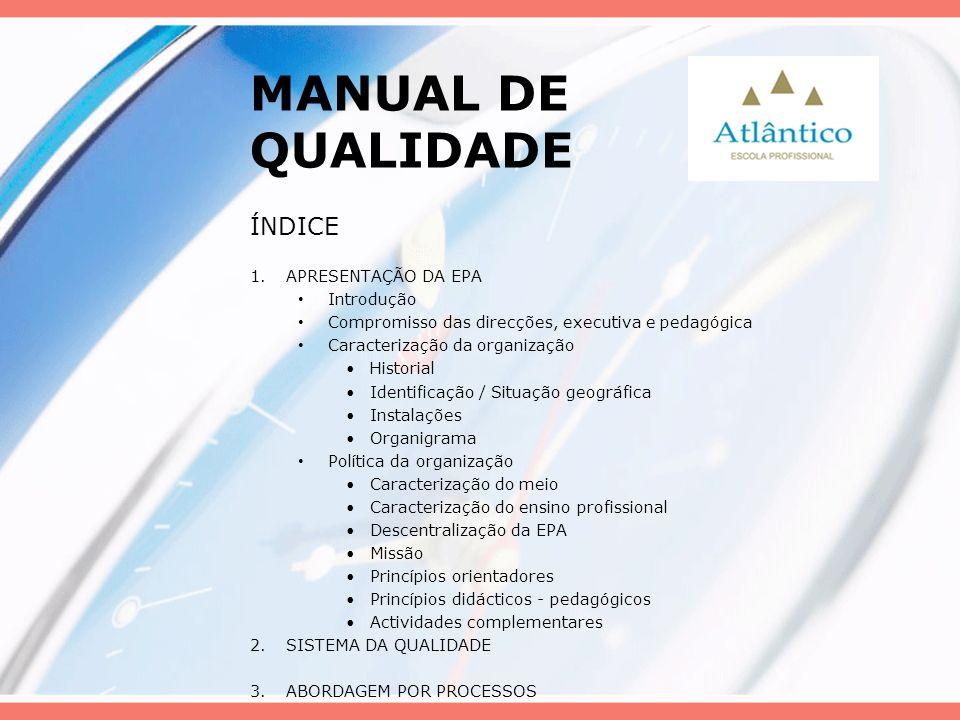 MANUAL DE QUALIDADE ÍNDICE APRESENTAÇÃO DA EPA Introdução