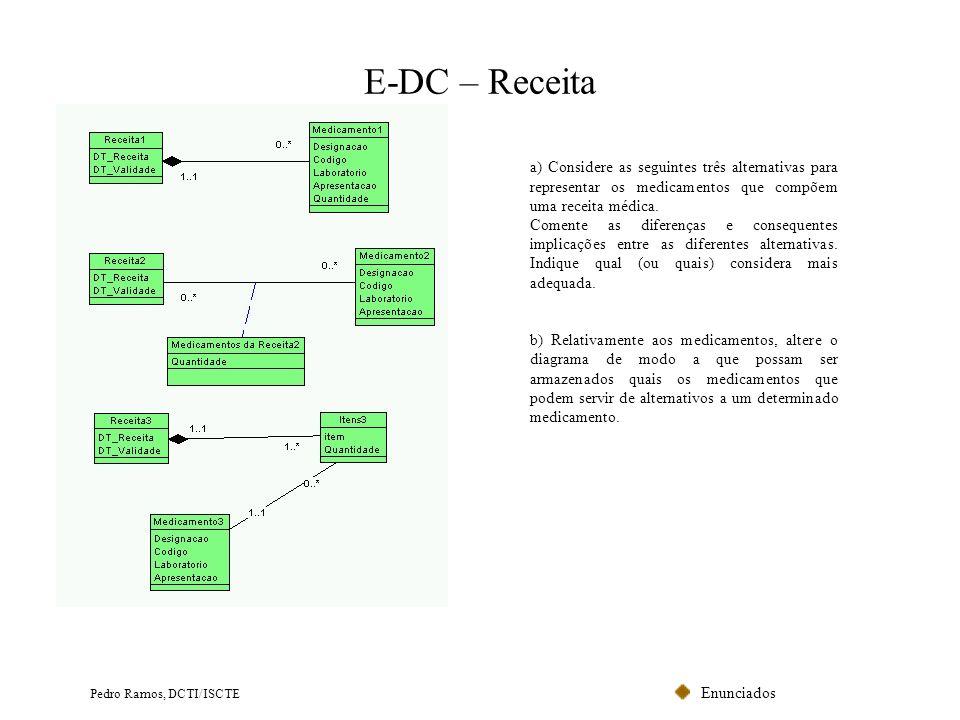E-DC – Receita a) Considere as seguintes três alternativas para representar os medicamentos que compõem uma receita médica.