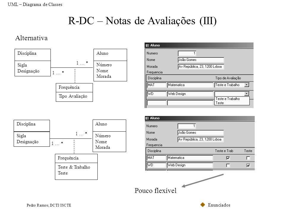 R-DC – Notas de Avaliações (III)
