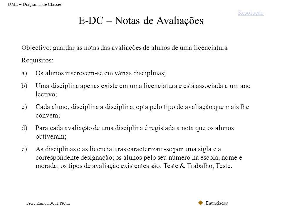 E-DC – Notas de Avaliações