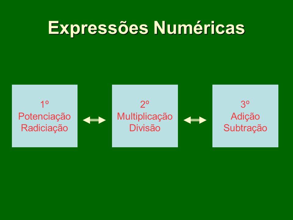 Expressões Numéricas 1º Potenciação Radiciação 2º Multiplicação