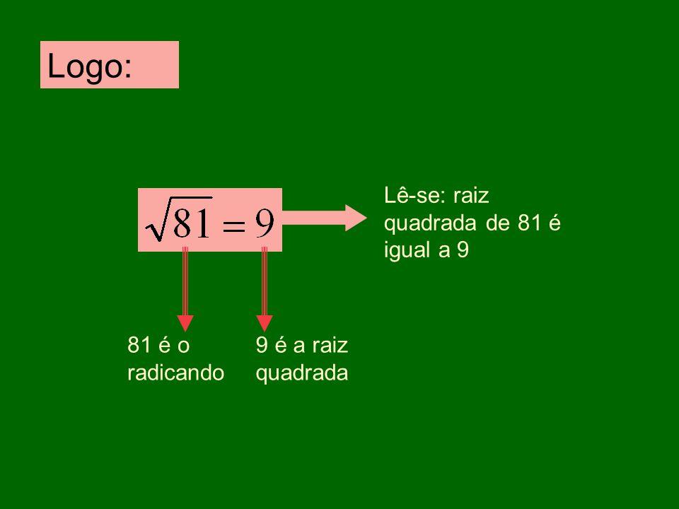 Logo: Lê-se: raiz quadrada de 81 é igual a 9 81 é o radicando