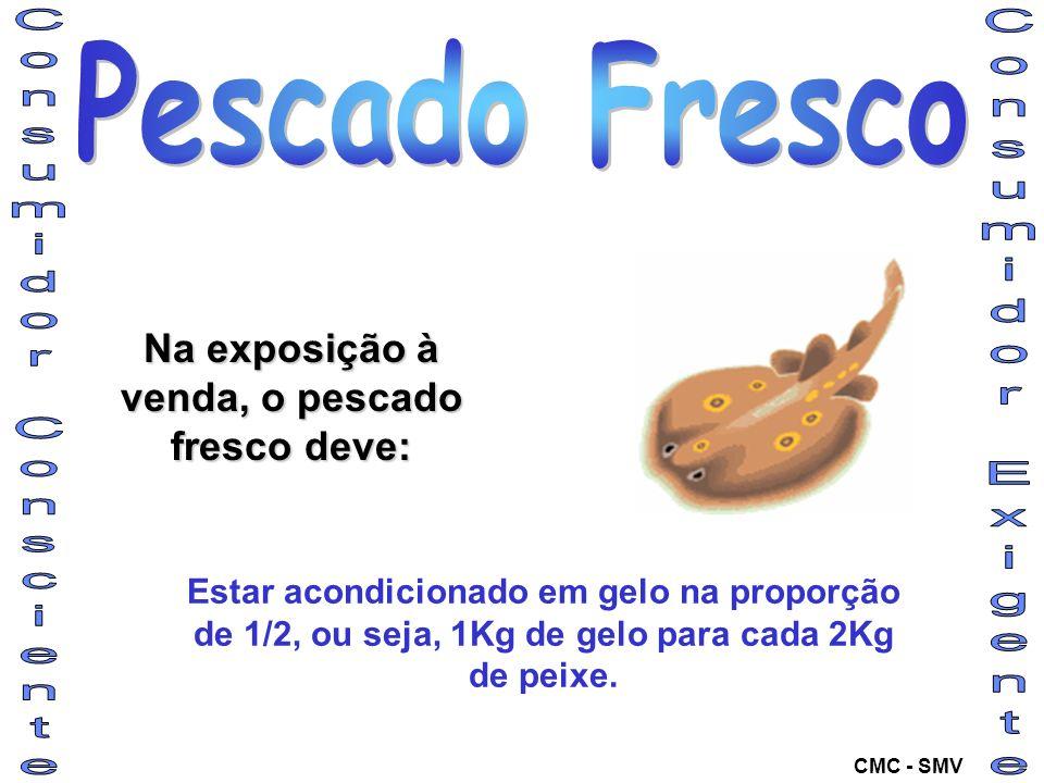 Na exposição à venda, o pescado fresco deve: