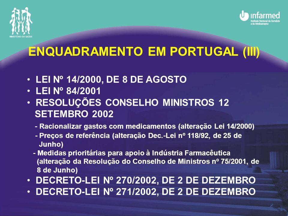 ENQUADRAMENTO EM PORTUGAL (III)