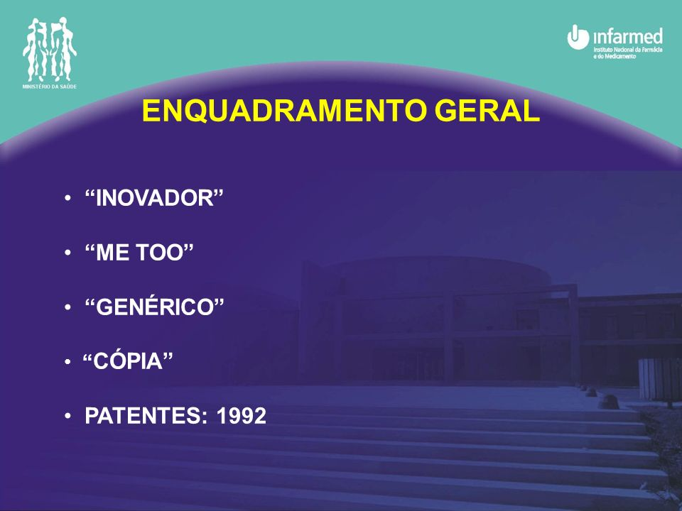 ENQUADRAMENTO GERAL INOVADOR ME TOO GENÉRICO PATENTES: 1992