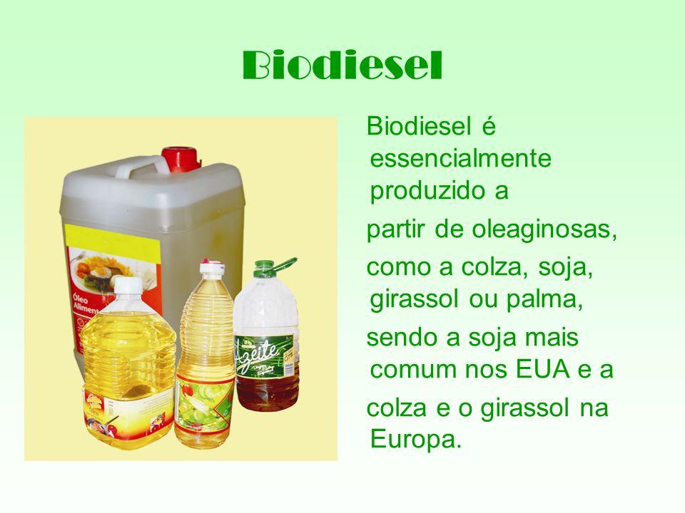 Biodiesel Biodiesel é essencialmente produzido a