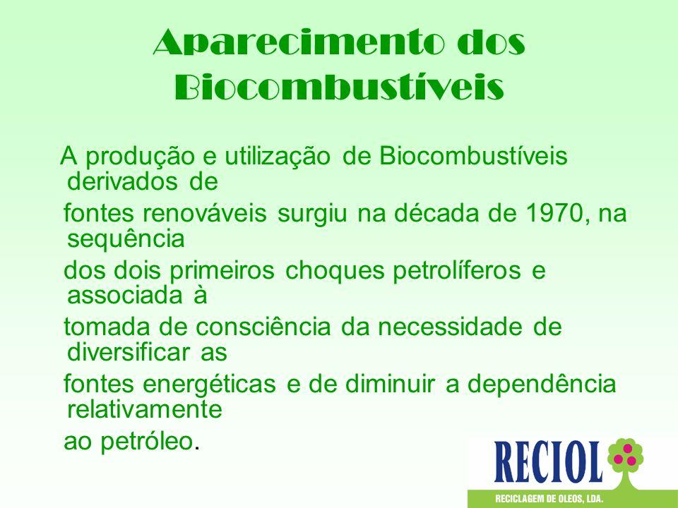 Aparecimento dos Biocombustíveis