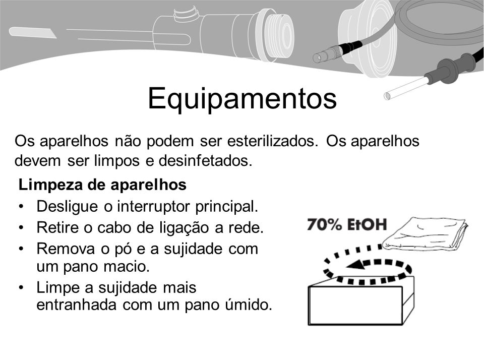 Equipamentos Os aparelhos não podem ser esterilizados. Os aparelhos devem ser limpos e desinfetados.