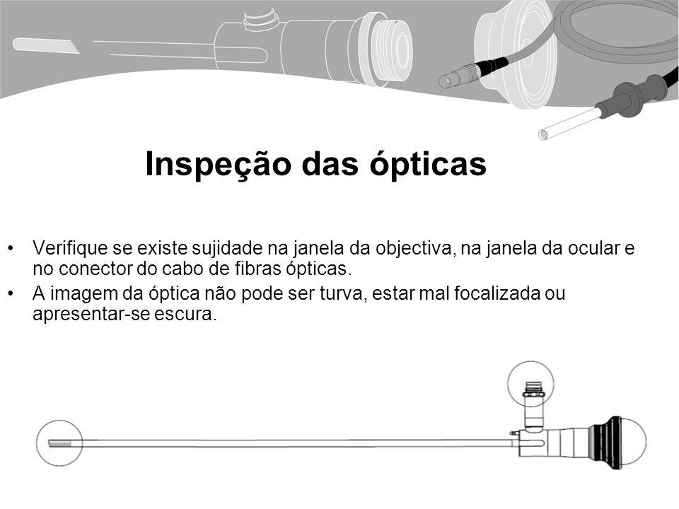 Inspeção das ópticas Verifique se existe sujidade na janela da objectiva, na janela da ocular e no conector do cabo de fibras ópticas.