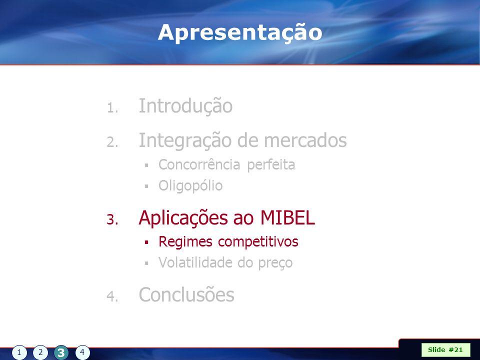 Apresentação Introdução Integração de mercados Aplicações ao MIBEL