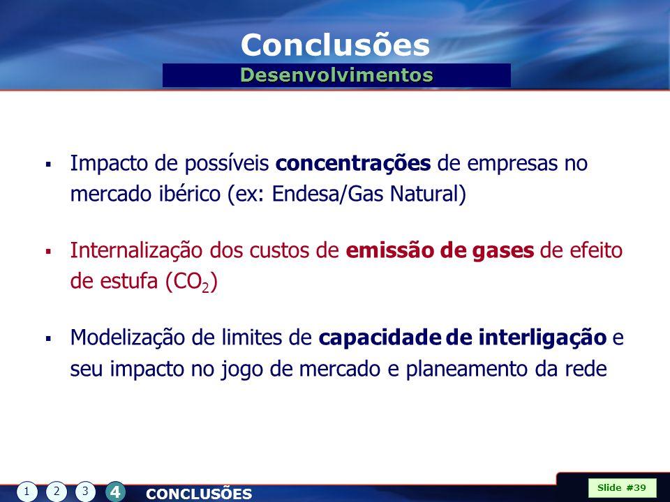 Conclusões Desenvolvimentos. Impacto de possíveis concentrações de empresas no mercado ibérico (ex: Endesa/Gas Natural)