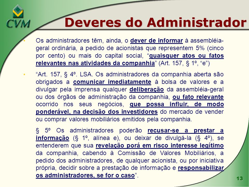 Deveres do Administrador
