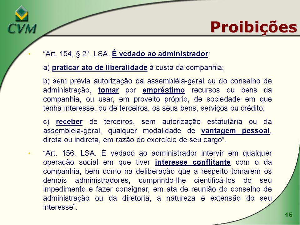 Proibições Art. 154, § 2°. LSA. É vedado ao administrador: