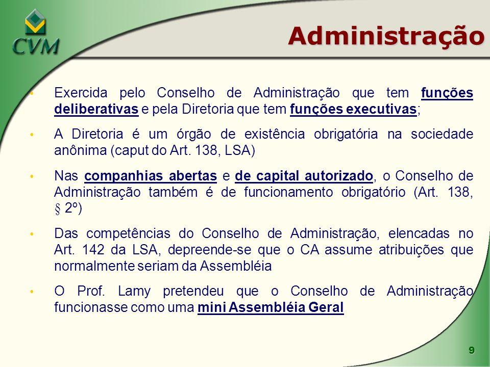 Administração Exercida pelo Conselho de Administração que tem funções deliberativas e pela Diretoria que tem funções executivas;