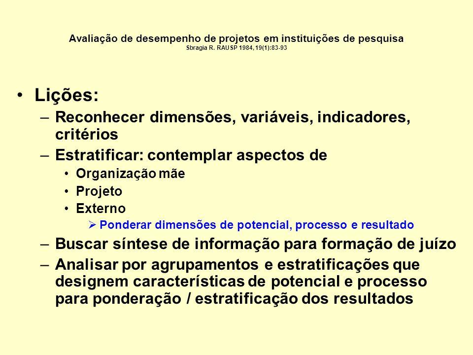 Lições: Reconhecer dimensões, variáveis, indicadores, critérios