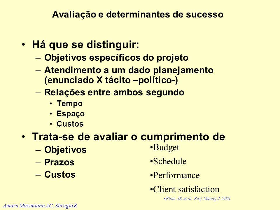 Avaliação e determinantes de sucesso