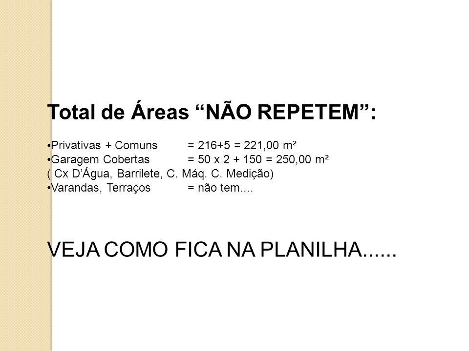 Total de Áreas NÃO REPETEM :