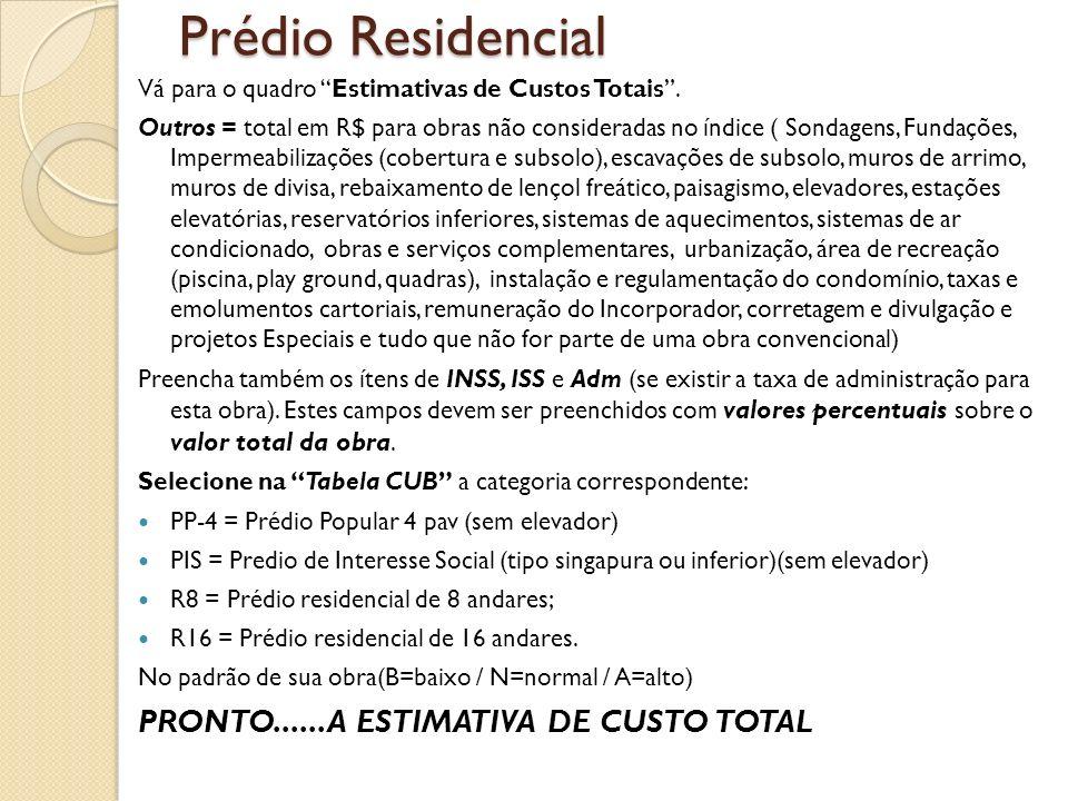 Prédio Residencial PRONTO......A ESTIMATIVA DE CUSTO TOTAL