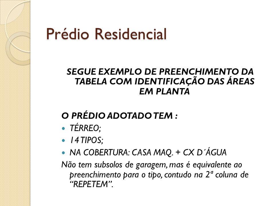 Prédio Residencial SEGUE EXEMPLO DE PREENCHIMENTO DA TABELA COM IDENTIFICAÇÃO DAS ÁREAS EM PLANTA.