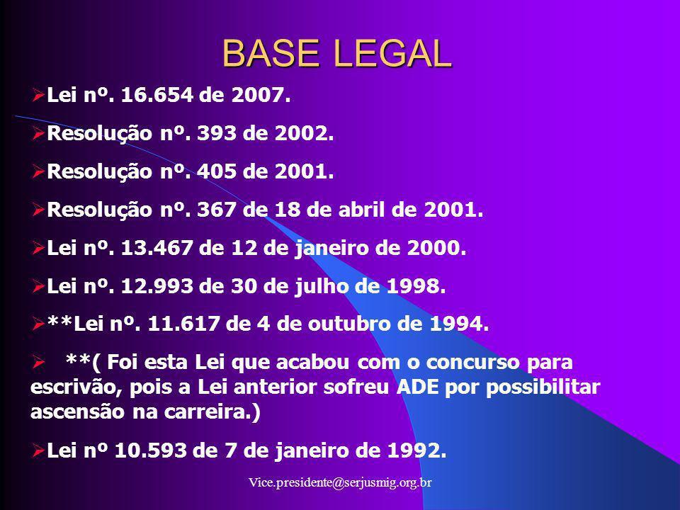 BASE LEGAL Lei nº. 16.654 de 2007. Resolução nº. 393 de 2002.