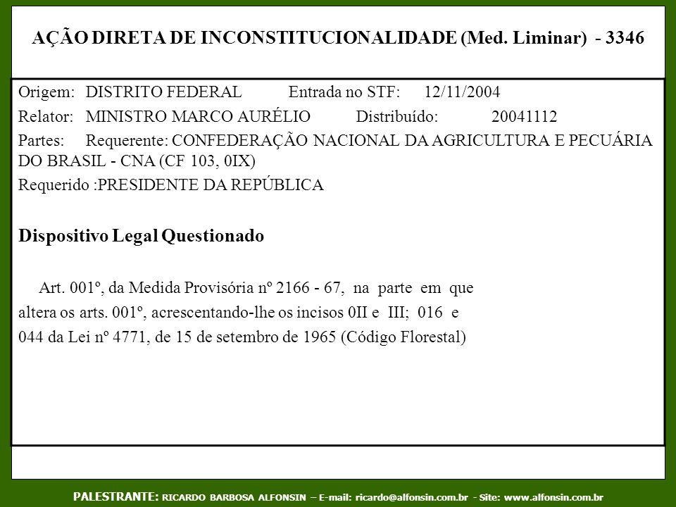 AÇÃO DIRETA DE INCONSTITUCIONALIDADE (Med. Liminar) - 3346