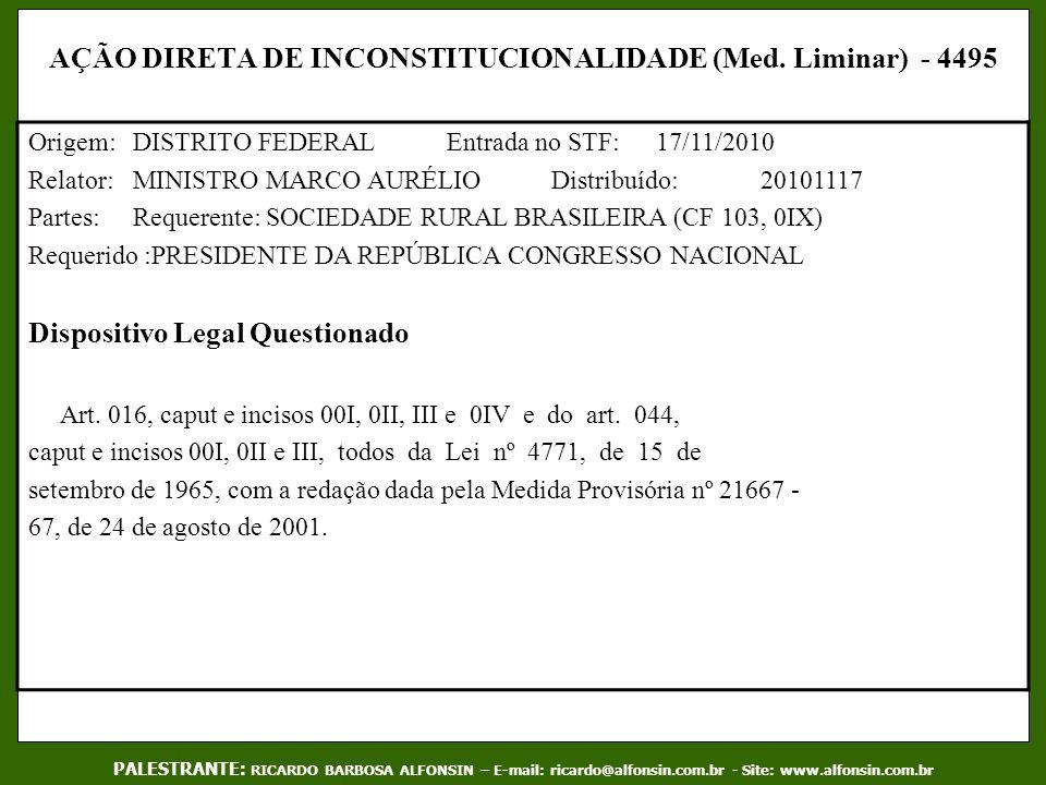 AÇÃO DIRETA DE INCONSTITUCIONALIDADE (Med. Liminar) - 4495