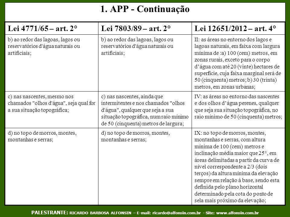 1. APP - Continuação Lei 4771/65 – art. 2° Lei 7803/89 – art. 2°