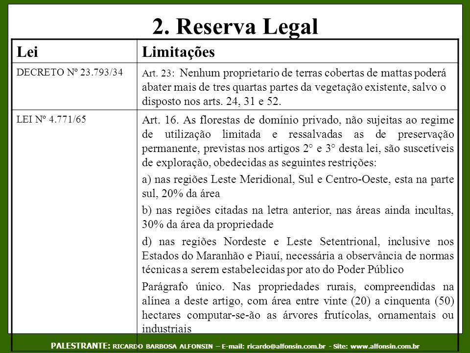 2. Reserva Legal Lei Limitações