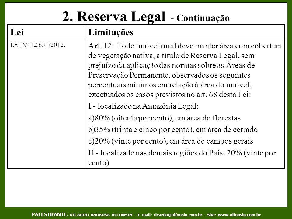 2. Reserva Legal - Continuação