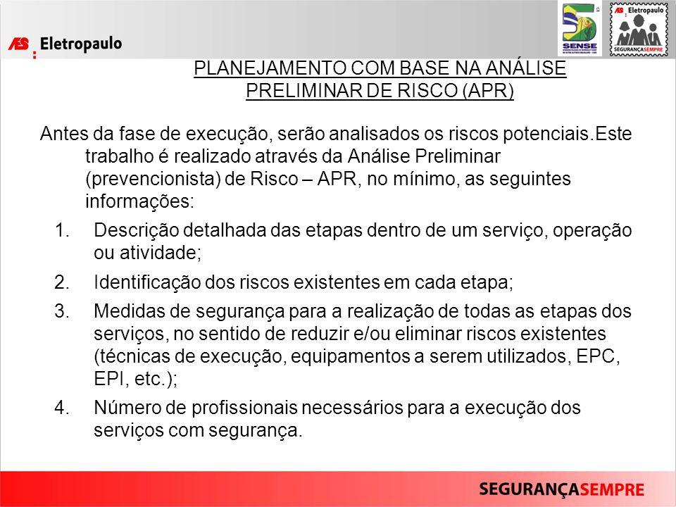 PLANEJAMENTO COM BASE NA ANÁLISE PRELIMINAR DE RISCO (APR)