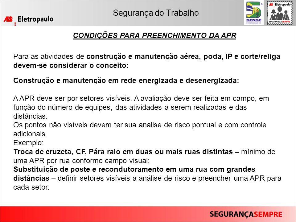 CONDIÇÕES PARA PREENCHIMENTO DA APR