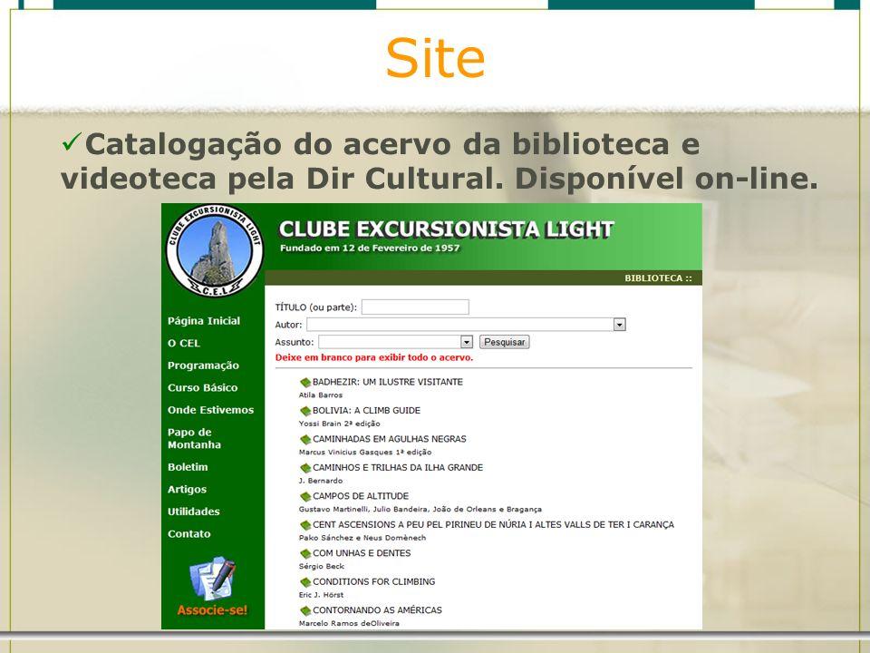 Site Catalogação do acervo da biblioteca e videoteca pela Dir Cultural. Disponível on-line.