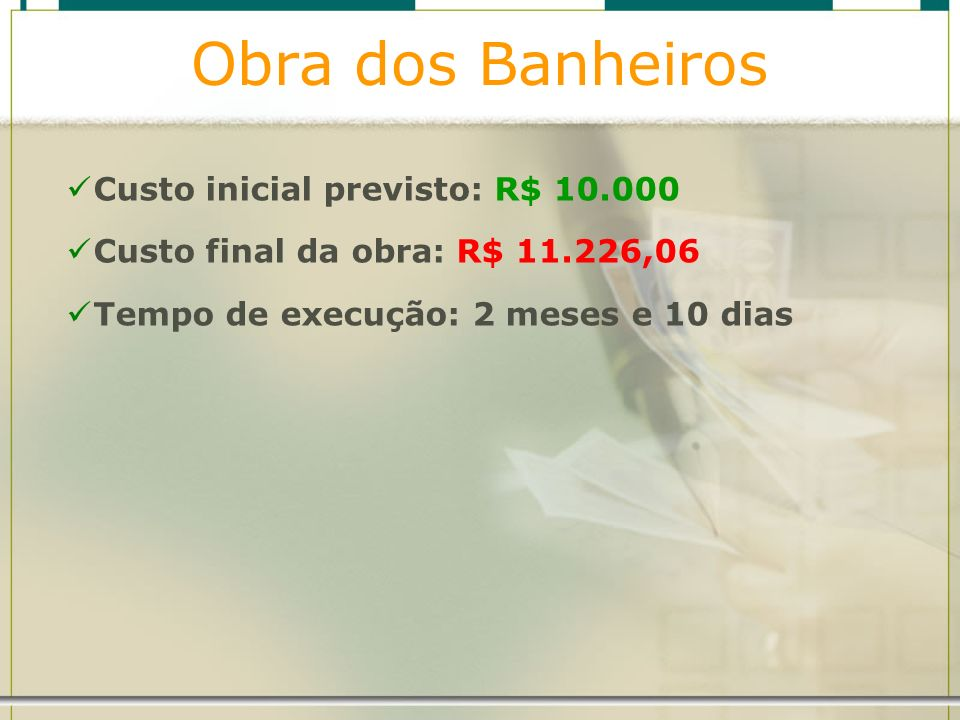 Obra dos Banheiros Custo inicial previsto: R$ 10.000
