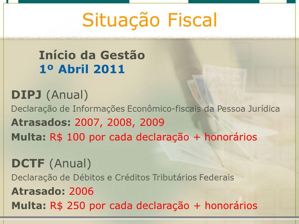 Situação Fiscal Início da Gestão 1º Abril 2011 DCTF (Anual)