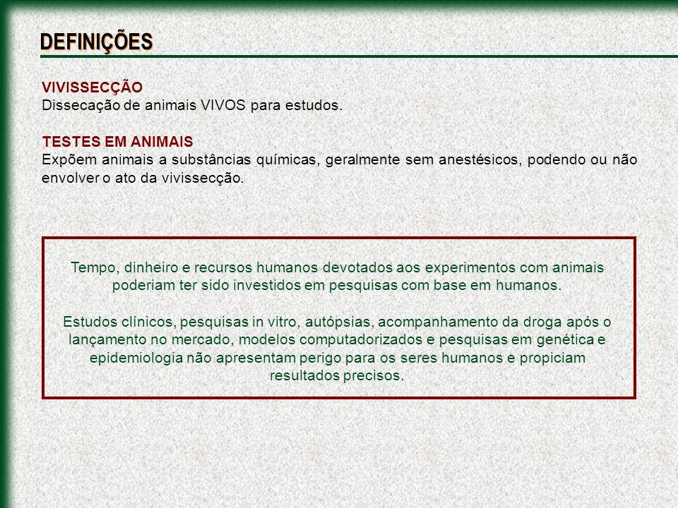 DEFINIÇÕES VIVISSECÇÃO Dissecação de animais VIVOS para estudos.