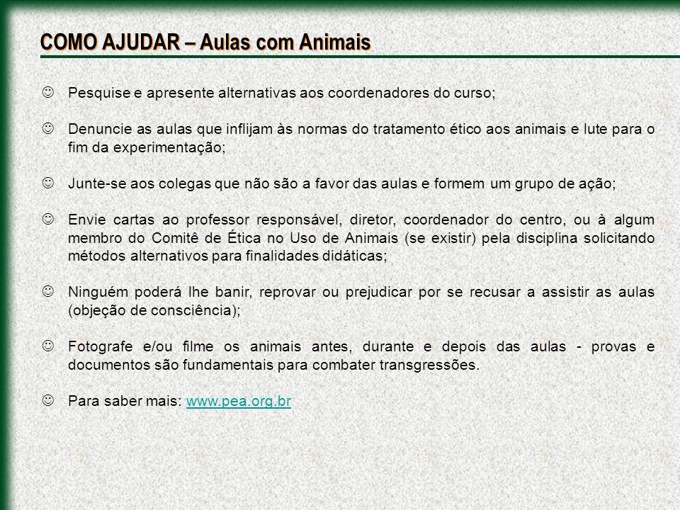 COMO AJUDAR – Aulas com Animais
