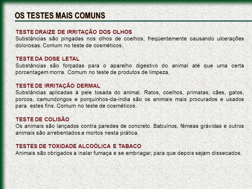 OS TESTES MAIS COMUNS TESTE DRAIZE DE IRRITAÇÃO DOS OLHOS