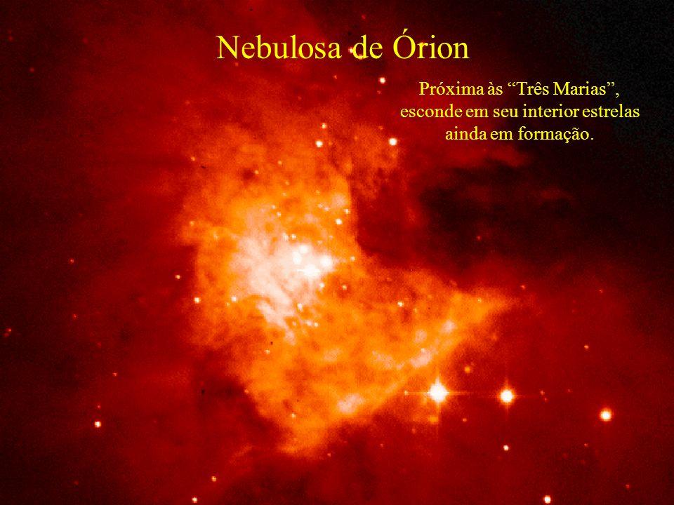Nebulosa de Órion Próxima às Três Marias , esconde em seu interior estrelas ainda em formação.