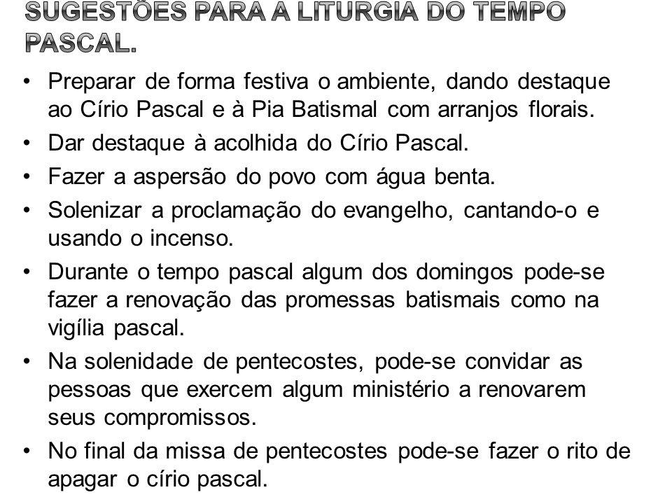 SUGESTÕES PARA A LITURGIA DO TEMPO PASCAL.