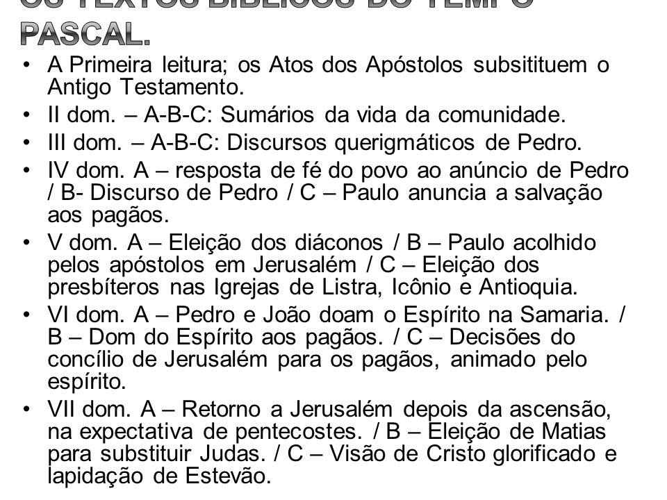 OS TEXTOS BÍBLICOS DO TEMPO PASCAL.